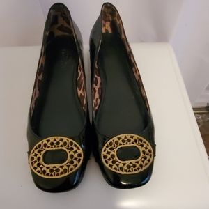 Coach patent leather flats with gold buckle 7.5